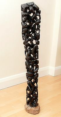 "Exclusive African Ebony ""tree Of Life"" Towering Makonde Sculpture #b"