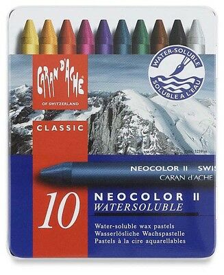 CARAN D'ACHE NEOCOLOR II Water-Soluble Wax Pastel Artists Crayon Set of 10