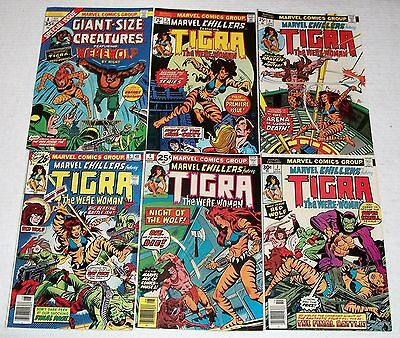 Giant-Size Creatures 1st Tigra Marvel Chillers #3 4 5 6 7 Key Bronze Lot 8.5-9.2