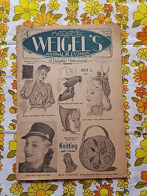 MADAME WEIGEL'S JOURNAL OF FASHION July 1, 1944 vintage pattern magazine