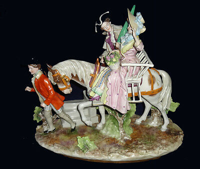 Large Dresden Scheibe-Alsbach Porcelain Couple Riding Horse Grouping Figurine