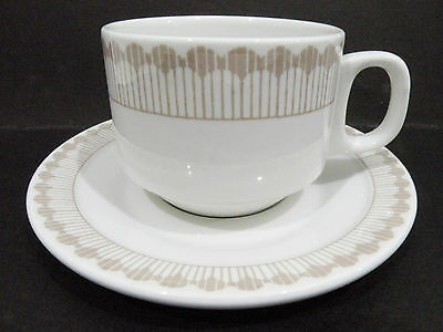 Bristile / Wembley ware - Cup & Saucer  vgc  taupe lines pattern  1984