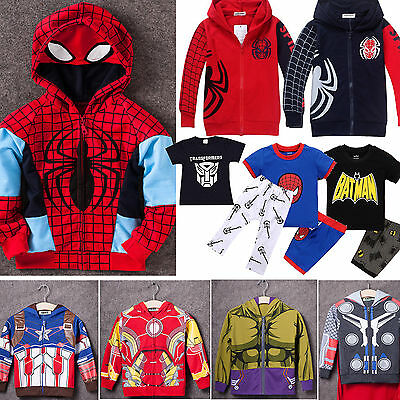 Kids Boys Toddler Clothes Spiderman Sweatshirts Hooded Top T-shirt Pants Outfits
