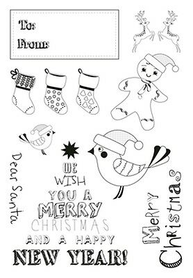 Kaisercraft cling stamps - Santa's List Christmas stamps - 11 stamps