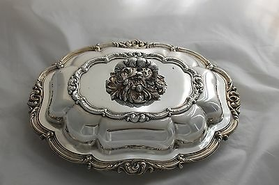 Vintage Sheffield Silverplate Serving Dish with Lid Covered Silver Plate Server