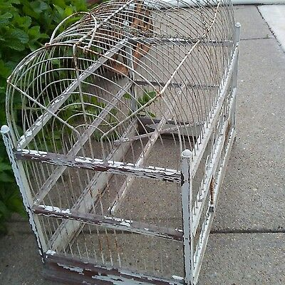 Large Antique Wood & Metal  Bird Cage early 1900s Vintage Shabby Country Decor