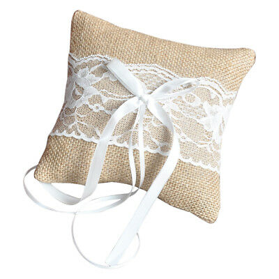 Vintage Jute Rustic Wedding Ring Pillow 6 inch x 6 inch PK