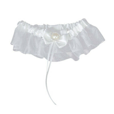 Sexy bride pearl diamond wedding garter white ball PK
