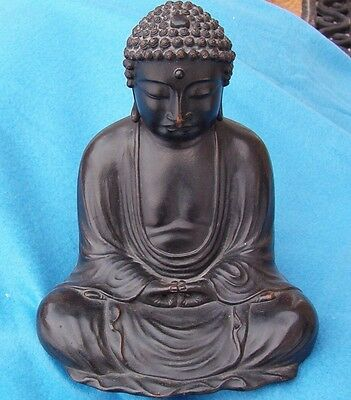 Superb signed 19thc Japanese SOLID BRONZE BUDDHA figure Museum Quality Authentic