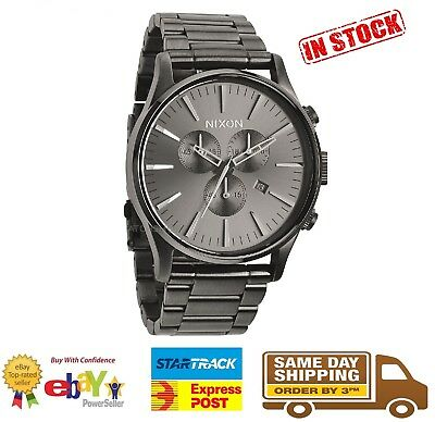 Nixon Sentry SS Chrono Gunmetal Watch A386-632 A386632 Stainless Steel
