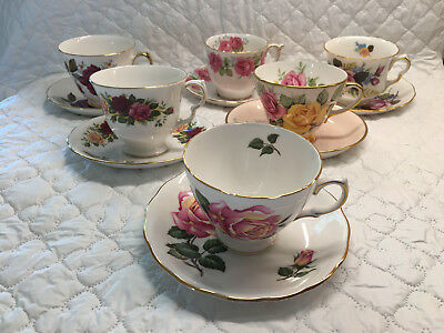 Beautiful Lot of 6 'Roses' Tea Party Collection/Tea Cup & Matching Saucers - 836