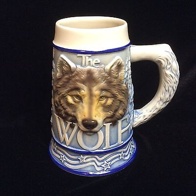 THE GRAY WOLF By Tom O'Brien Wildlife Awareness Beer Stein Brazil 2000