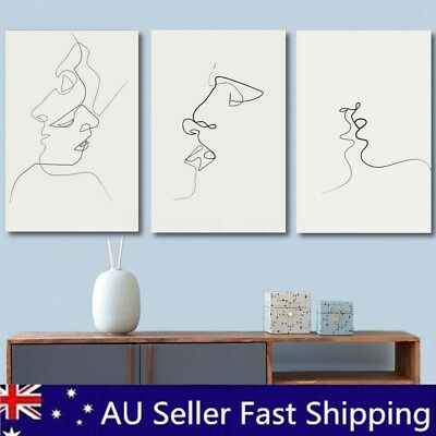 Abstract Kiss Simple Line Curve Canvas Print Painting Wall Art Pictures Unframed