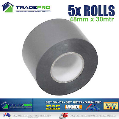 5x Roll PVC Duct Tape 48mm x 30m Silver Great Quality Sealing Duck 30mtr