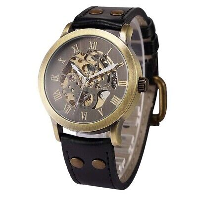 Mens Watch Synthetic Leather Steampunk Skeleton Mechanical Analog Automatic V6U1