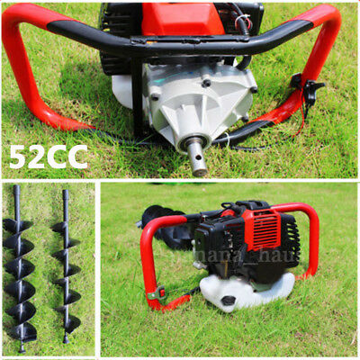 52CC Heavy Duty Petrol Earth Auger Fence Post Hole Borer Digger and 3 Drill Bits