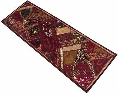 """60"""" Rich Vintage Decor Beaded Sequin Sari Wall Hanging Tapestry Throw Runner"""