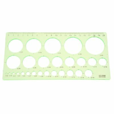 Green Plastic Students Rectangle Shape Drawing Circle Template Ruler R8T7