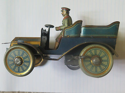 GERMAN CLOCKWORK TIN TOY in EXCELLENT CONDITION CAR & DRIVER c1910s COMPLETE