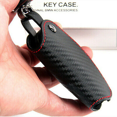 Real Leather Carbon Fibre Style Key Cover Case For BMW ///M 1 2 3 4 5 6 7 X3 X4