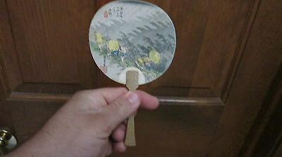 Rare Old Japanese Painted Scene On Fan With Japan Mark Look!!!