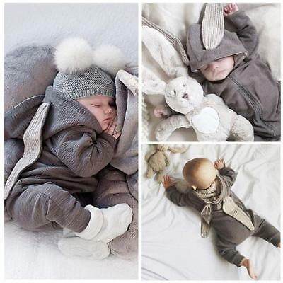 New Newborn Infant Baby Unisex Rabbit Ear Warm Romper Jumpsuit Outfits Clothes