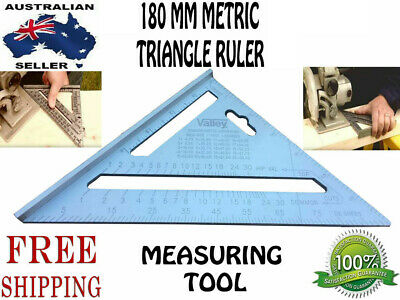 NEW 180mm Double Side Scale Stainless Steel Metric Triangle Ruler Measuring Tool