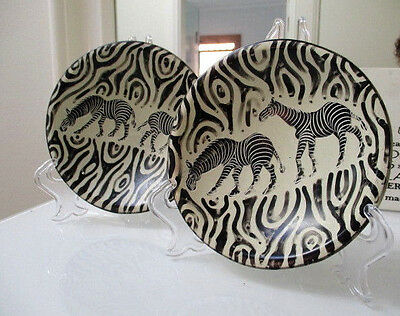 2 Central Africa Kenya Massai Soap Stone Plate ENGRAVED WITH ZEBRA HAND CARVED