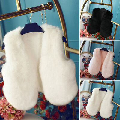 Girls Kids Faux Fur Vest Waistcoat Baby Girl Warm Winter Coat Outwear Jacket DW