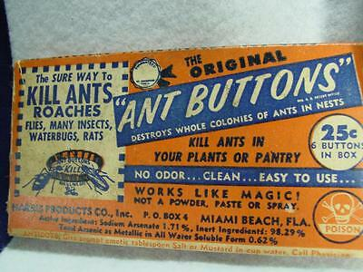 Vintage 1953 Ant Buttons Pest Control Insect Ant Killer Arsenic 2 Boxes Rare