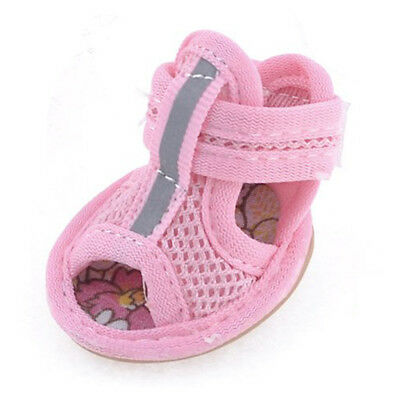 2 Pairs Rubber Sole Pink Mesh Sandals Dog Shoes Size 1 PK