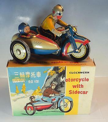 Tin Toy Blech China MS 709 Motorcycle with Sidecar clockwork in O-Box #1407