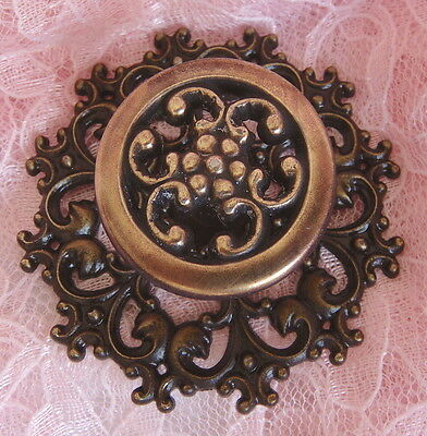 Vtg Ornate Fancy ROSETTE KNOB BACKPLATE SET Dresser Drawer Cabinet Door Applique