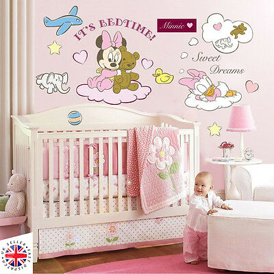 DISNEY MINNIE MOUSE DAISY Wall Stickers Nursery GIRLS BABY TEDDY PINK ANIMALS