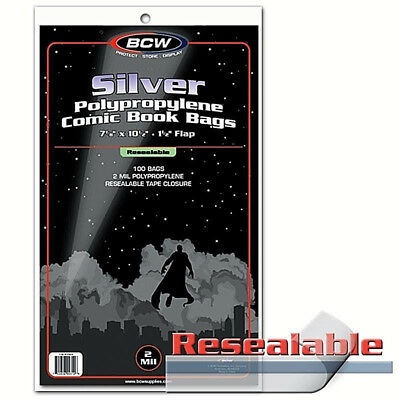 Pack 100 Bags BCW Resealable Silver Comic 2 Mill Poly.7 1/8 x 10 1/2 (#CS47)