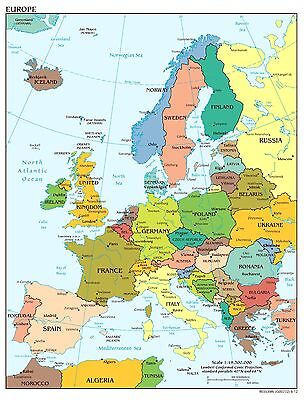 Map of Europe Wall Art Poster Print MAE01 A4 A3 POSTERS PRINT BUY 2 GET 1 FREE