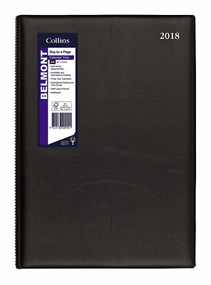 2018 Collins Deblin Belmont A4 1 Day to A Page DTP Large Diary 147.V99-18 BLACK