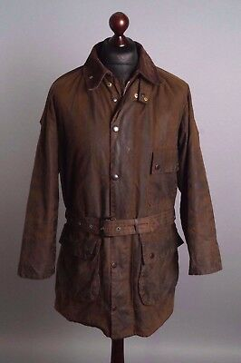 Men's BARBOUR Solway Zipper Belted A98 Green Vintage Waxed Jacket Size C 42 /107