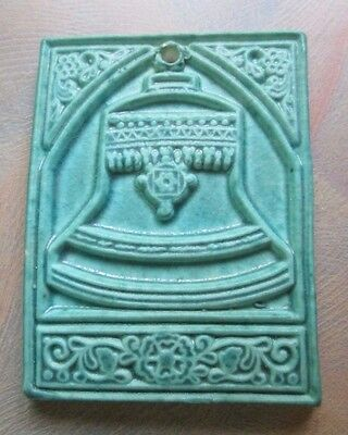 """Pewabic Detroit 1998 Small Tile Ornament Church Bell Turquoise Green 2 1/2"""" x 2"""""""