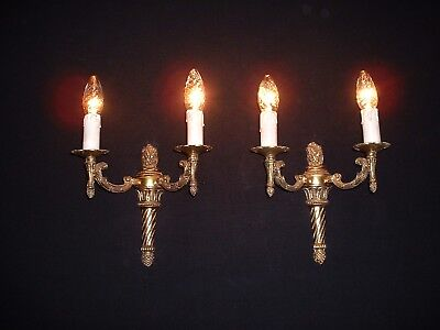 Vintage French bronze Empire style sconces torch design