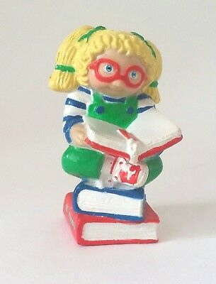 Vintage Cabbage Patch Plastic Figurine Blond Girl Reading Books