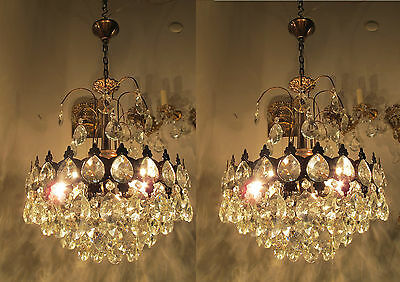 Pair Of Vnt French Basket Style Crystal Chandelier Lamp light 1940s 15in diametr
