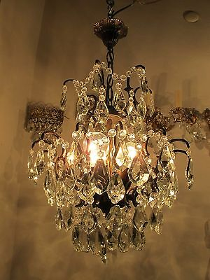 Antique Vnt French Spider Style Crystal Chandelier Lamp 1940s 15in Rare----