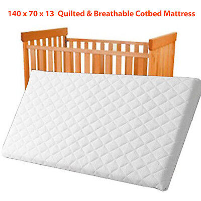 Toddler QUILTED & Waterproof Breathable COT BED MATTRESS Cotbed140x70x13 Size