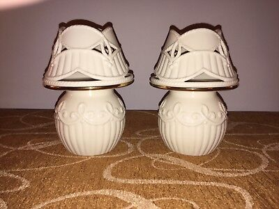 Lenox Carved Tea Light Candle Lamps Ivory with Gold Trim, set of 2