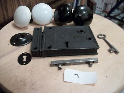 Antique-Vintage-Old-Collectible-Rim Lock- W/ Knobs-,keeper- Spindle-Rose-Key 7