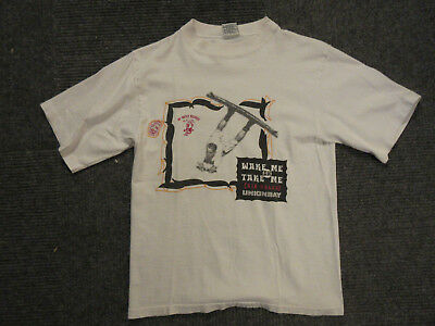 """vintage 80's Union Bay surfing wakeboarding """"Air Rules"""" white shirt SMALL/MEDIUM"""