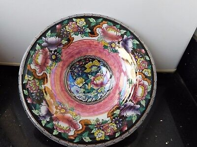 "MALING PEONY ROSE HAND PAINTED FRUIT  BOWL 10.3/4"" high . MINT. SIGNED. .V. RARE"