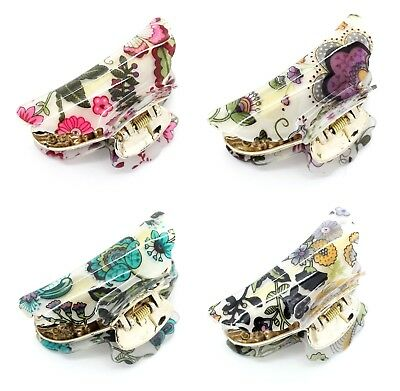 Floral Flower Vintage Hair Clip Tort Bull Claw Grip Clamp Butterfly Clip (Mf)