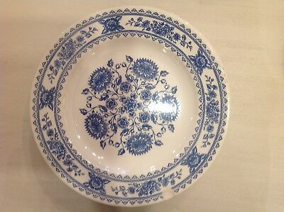 blue and white transferware dinner plate